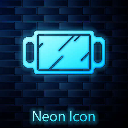Glowing neon Hand mirror icon isolated on brick wall background. Vector Illustration.