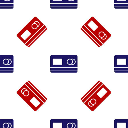 Blue and red Credit card icon isolated seamless pattern on white background. Online payment. Cash withdrawal. Financial operations. Shopping sign. Vector Illustration. Ilustrace