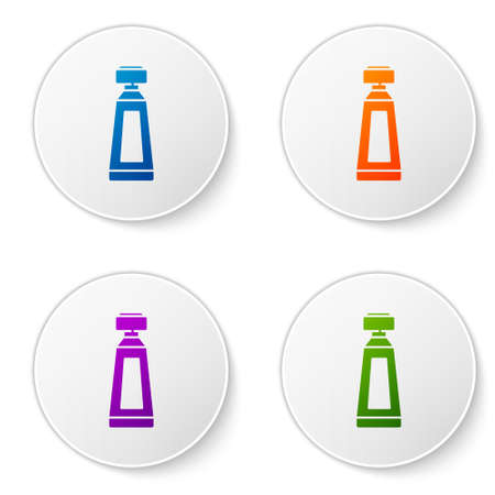 Color Cream or lotion cosmetic tube icon isolated on white background. Body care products for men. Set icons in circle buttons. Vector Illustration. Illustration