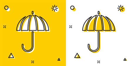 Black Classic elegant opened umbrella icon isolated on yellow and white background. Rain protection symbol. Random dynamic shapes. Vector Illustration.