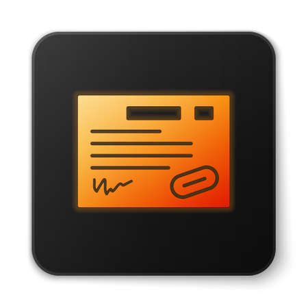 Orange glowing neon Warranty certificate template icon isolated on white background. Black square button. Vector Illustration.