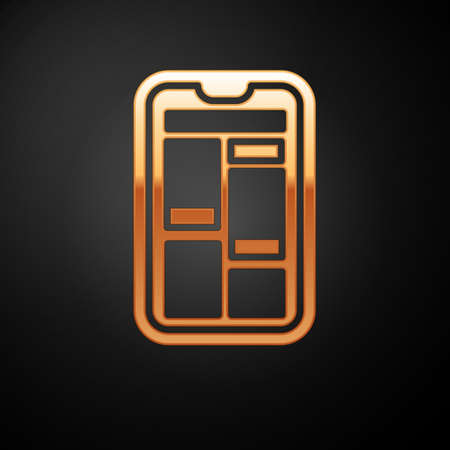 Gold Online shopping on mobile phone icon isolated on black background. Internet shop, mobile store app and payments billing.  Vector Illustration. 向量圖像
