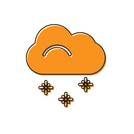 Orange Cloud with snow icon isolated on white background. Cloud with snowflakes. Single weather icon. Snowing sign.  Vector Illustration.