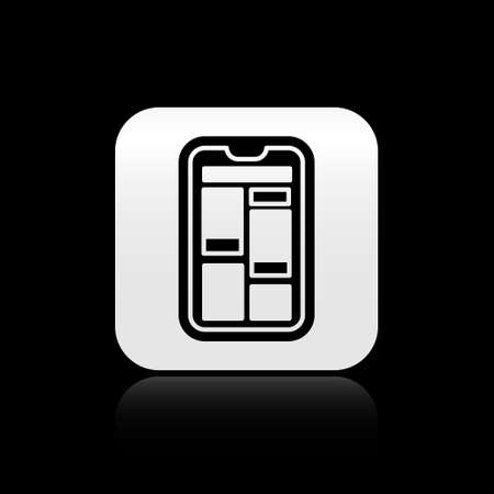 Black Online shopping on mobile phone icon isolated on black background. Internet shop, mobile store app and payments billing. Silver square button. Vector Illustration.