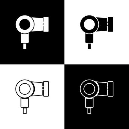 Set Hair dryer icon isolated on black and white background. Hairdryer sign. Hair drying symbol. Blowing hot air. Vector Illustration.