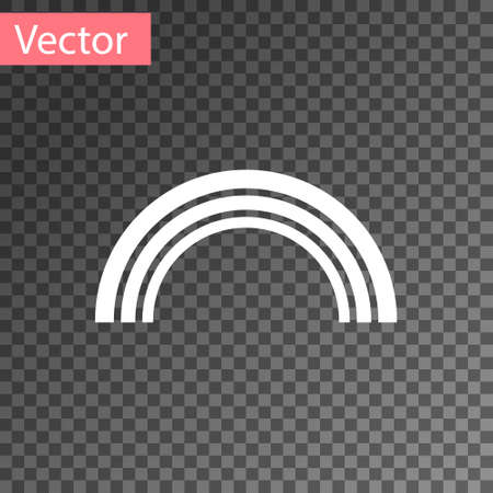 White Rainbow icon isolated on transparent background.  Vector Illustration.