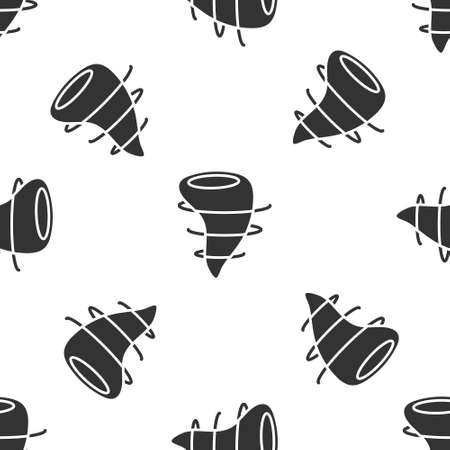 Grey Tornado icon isolated seamless pattern on white background.  Vector Illustration.