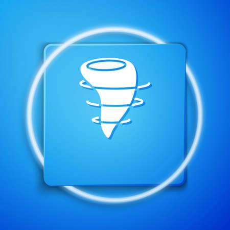 White Tornado icon isolated on blue background. Blue square button. Vector Illustration. Imagens - 150754420