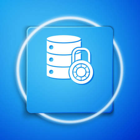 White Server security with closed padlock icon isolated on blue background. Security, safety, protection concept. Blue square button. Vector Illustration.