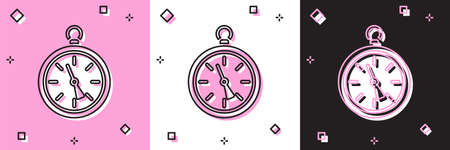 Set Compass icon isolated on pink and white, black background. Windrose navigation symbol. Wind rose sign.  Vector Illustration. 일러스트
