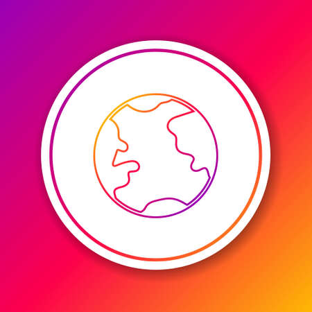 Color line Earth globe icon isolated on color background. World or Earth sign. Global internet symbol. Geometric shapes. Circle white button. Vector Illustration.