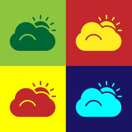 Pop art Sun and cloud weather icon isolated on color background.  Vector Illustration. 矢量图像