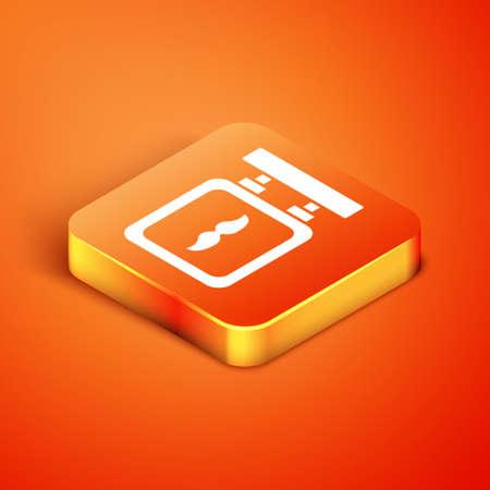 Isometric Barbershop icon isolated on orange background. Çizim