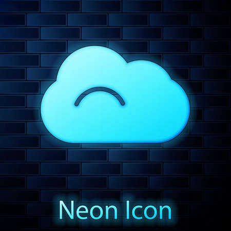 Glowing neon Cloud icon isolated on brick wall background.  Vector Illustration.