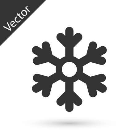 Grey Snowflake icon isolated on white background.  Vector Illustration.