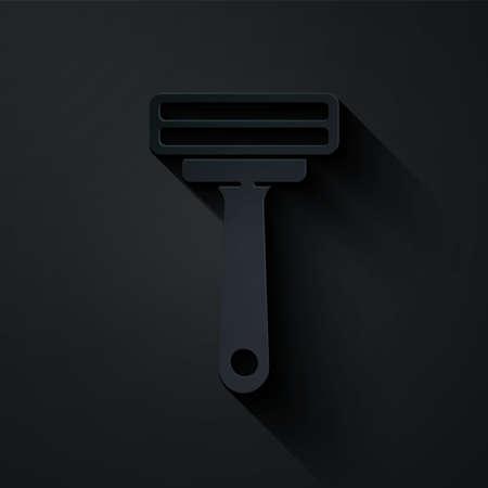 Paper cut Shaving razor icon isolated on black background. Paper art style. Vector Illustration.