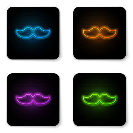Glowing neon Mustache icon isolated on white background. Barbershop symbol. Facial hair style. Black square button. Vector Illustration.
