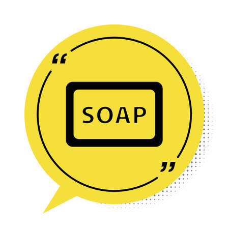 Black Bar of soap with foam icon isolated on white background. Soap bar with bubbles. Yellow speech bubble symbol. Vector Illustration.
