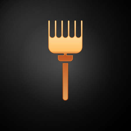 Gold Hairbrush icon isolated on black background. Comb hair sign. Barber symbol. Vector Illustration.