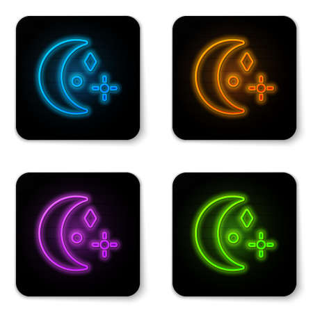 Glowing neon Moon and stars icon isolated on white background. Cloudy night sign. Sleep dreams symbol. Night or bed time sign. Black square button. Vector Illustration.