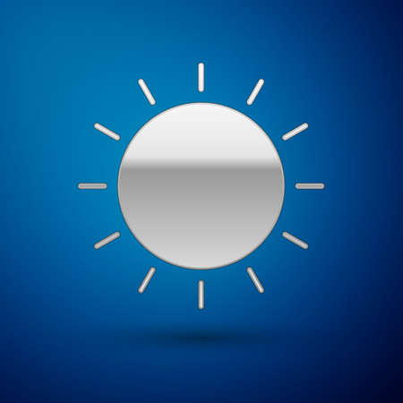 Silver Sun icon isolated on blue background. Summer symbol. Good sunny day.  Vector Illustration.