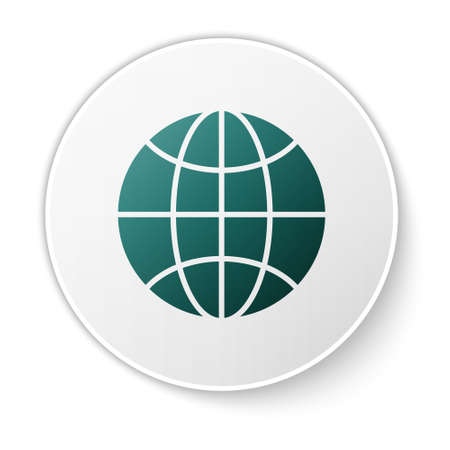 Green Worldwide icon isolated on white background. Pin on globe. White circle button. Vector Illustration.