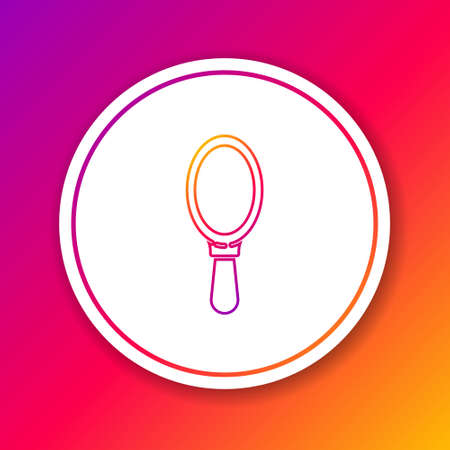Color line Hand mirror icon isolated on color background. Circle white button. Vector Illustration.