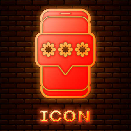 Glowing neon Mobile and password protection icon isolated on brick wall background. Security, safety, personal access, user authorization, privacy.  Vector Illustration.