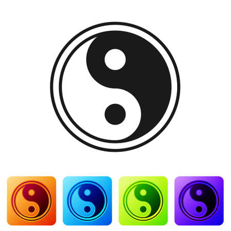 Black Yin Yang symbol of harmony and balance icon isolated on white background. Set icons in color square buttons. Vector Illustration. Illusztráció