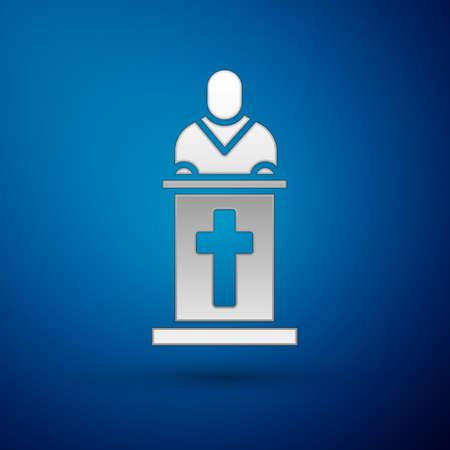 Silver Church pastor preaching icon isolated on blue background. Vector Illustration. Vectores