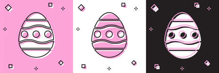Set Easter egg icon isolated on pink and white, black background. Happy Easter. Vector Illustration.