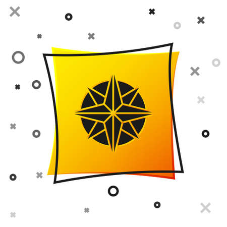 Black Wind rose icon isolated on white background. Compass icon for travel. Navigation design. Yellow square button. Vector Illustration.