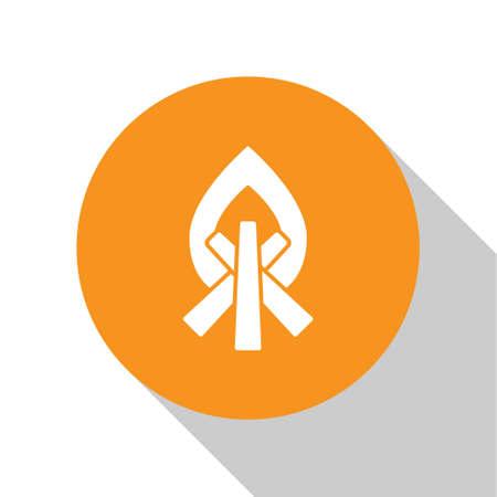 White Campfire icon isolated on white background. Burning bonfire with wood. Orange circle button. Vector Illustration.
