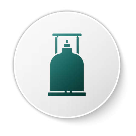 Green Camping gas stove icon isolated on white background. Portable gas burner. Hiking, camping equipment. White circle button. Vector Illustration. Ilustracja