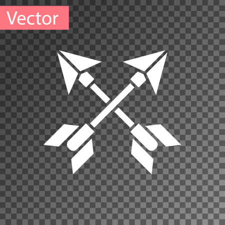 White Crossed arrows icon isolated on transparent background. Vector Illustration.