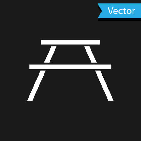 White Picnic table with benches on either side of the table icon isolated on black background. Vector Illustration.