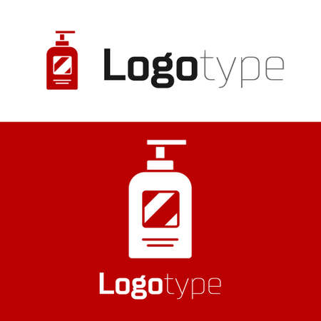 Red Bottle of shampoo icon isolated on white background. Logo design template element. Vector Illustration.