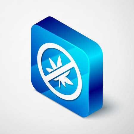 Isometric Stop marijuana or cannabis leaf icon isolated on grey background. No smoking marijuana. Hemp symbol. Blue square button. Vector Illustration. Vectores
