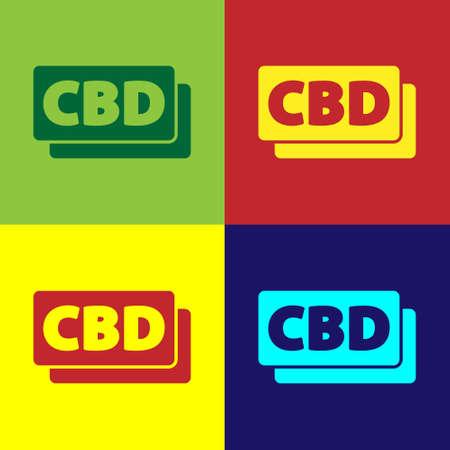 Pop art Cannabis molecule icon isolated on color background. Cannabidiol molecular structures, THC and CBD formula. Marijuana sign. Vector Illustration.