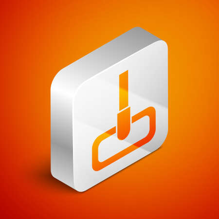 Isometric Mop icon isolated on orange background. Cleaning service concept. Silver square button. Vector Illustration.