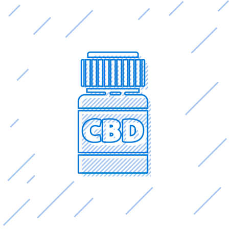 Blue line Medical bottle with marijuana or cannabis leaf icon isolated on white background. Mock up of cannabis oil extracts in jars. Vector Illustration.