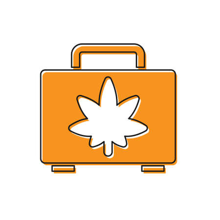 Orange Shopping box of medical marijuana or cannabis leaf icon isolated on white background. Buying cannabis. Hemp symbol. Vector Illustration.