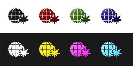 Set Legalize marijuana or cannabis globe symbol icon isolated on black and white background. Hemp symbol. Vector Illustration.