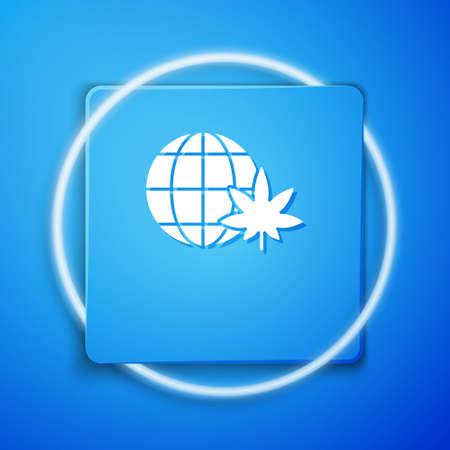 White Legalize marijuana or cannabis globe symbol icon isolated on blue background. Hemp symbol. Blue square button. Vector Illustration. Çizim