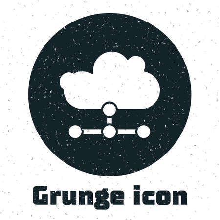 Grunge Network cloud connection icon isolated on white background. Social technology. Cloud computing concept. Monochrome vintage drawing. Vector Illustration.