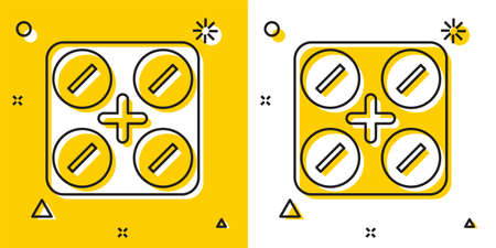 Black Medical pills with marijuana or cannabis leaf icon isolated on yellow and white background. Mock up of cannabis oil extracts in jars. Random dynamic shapes. Vector Illustration.