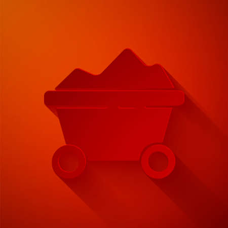 Paper cut Coal mine trolley icon isolated on red background. Factory coal mine trolley. Paper art style. Vector Illustration.