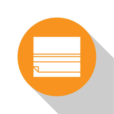 White Rolling paper icon isolated on white background. Orange circle button. Vector Illustration.