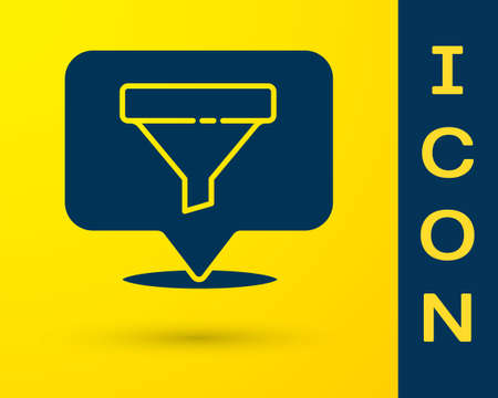 Blue Location with sales funnel icon isolated on yellow background. Infographic template. Vector Illustration.
