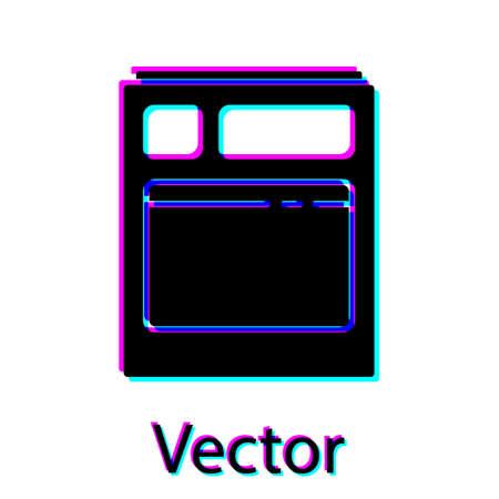 Black Kitchen dishwasher machine icon isolated on white background. Vector Illustration.